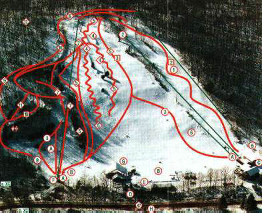 Woodbury Ski Area Piste / Trail Map