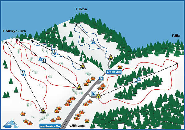 Yablunytsia Piste / Trail Map