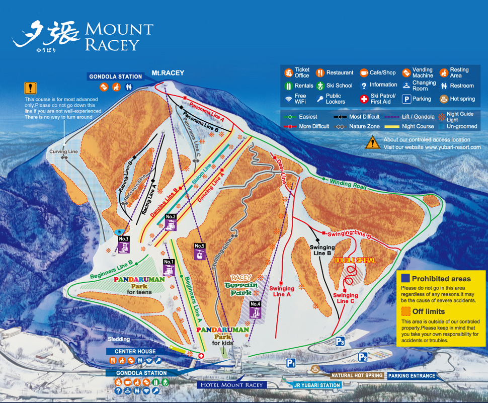 Mount Racey Resort - Yubari Piste / Trail Map