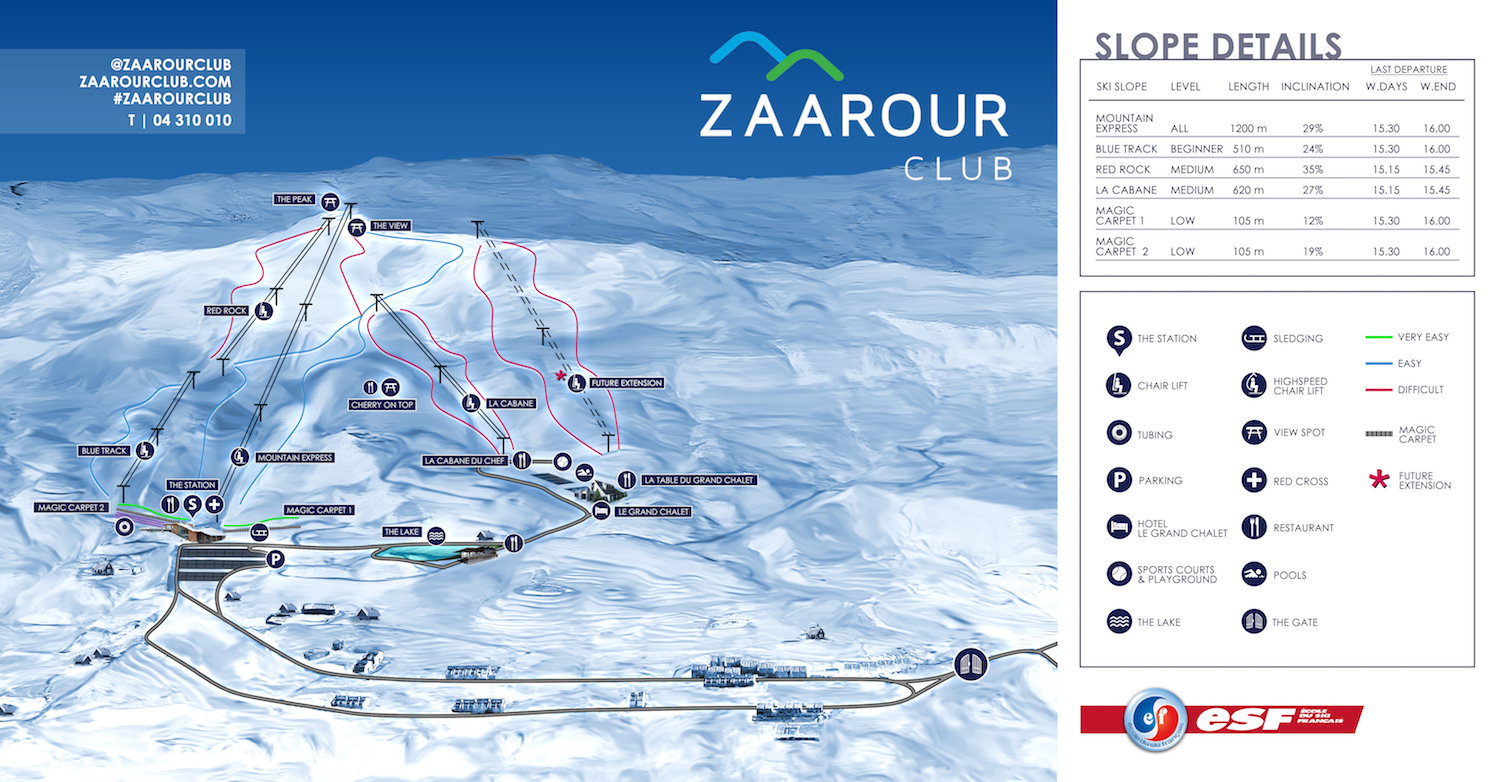 Zaarour Club Piste / Trail Map