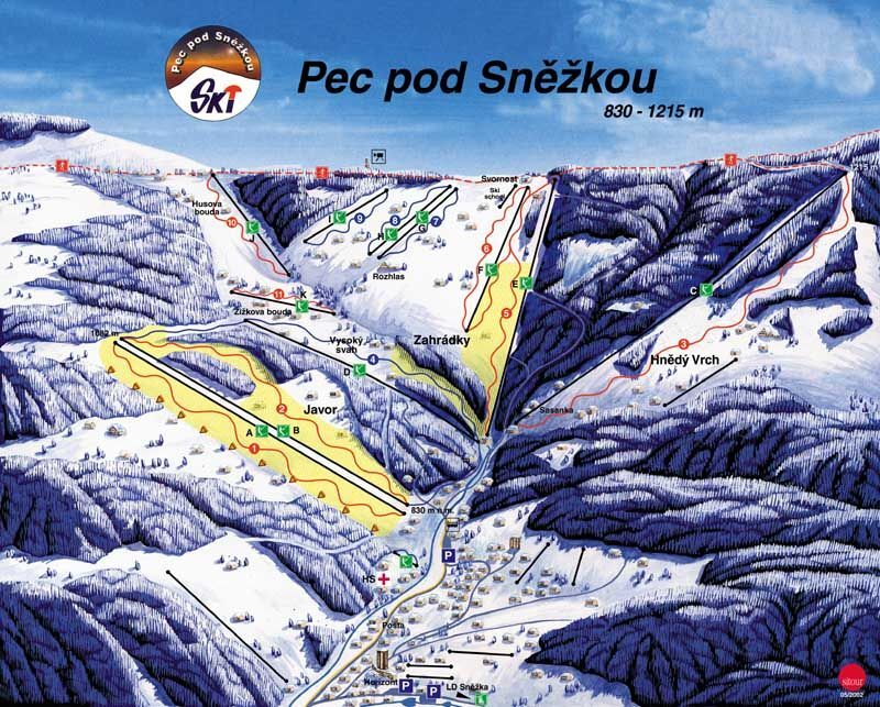 Žacléř - Prkenný Důl Piste / Trail Map