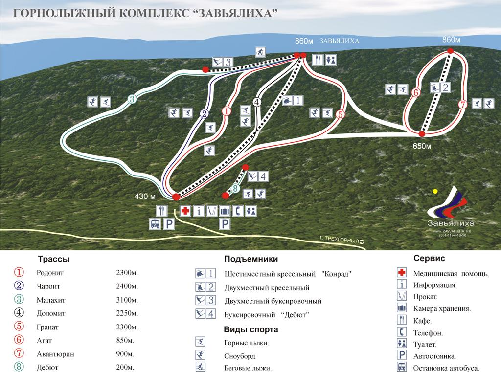 Zavjalikha Piste / Trail Map
