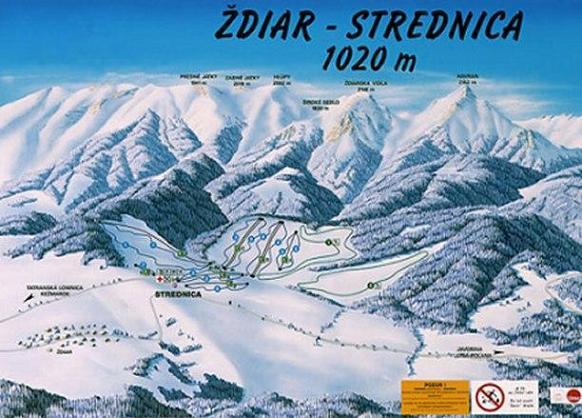 Strednica - Ždiar Piste / Trail Map