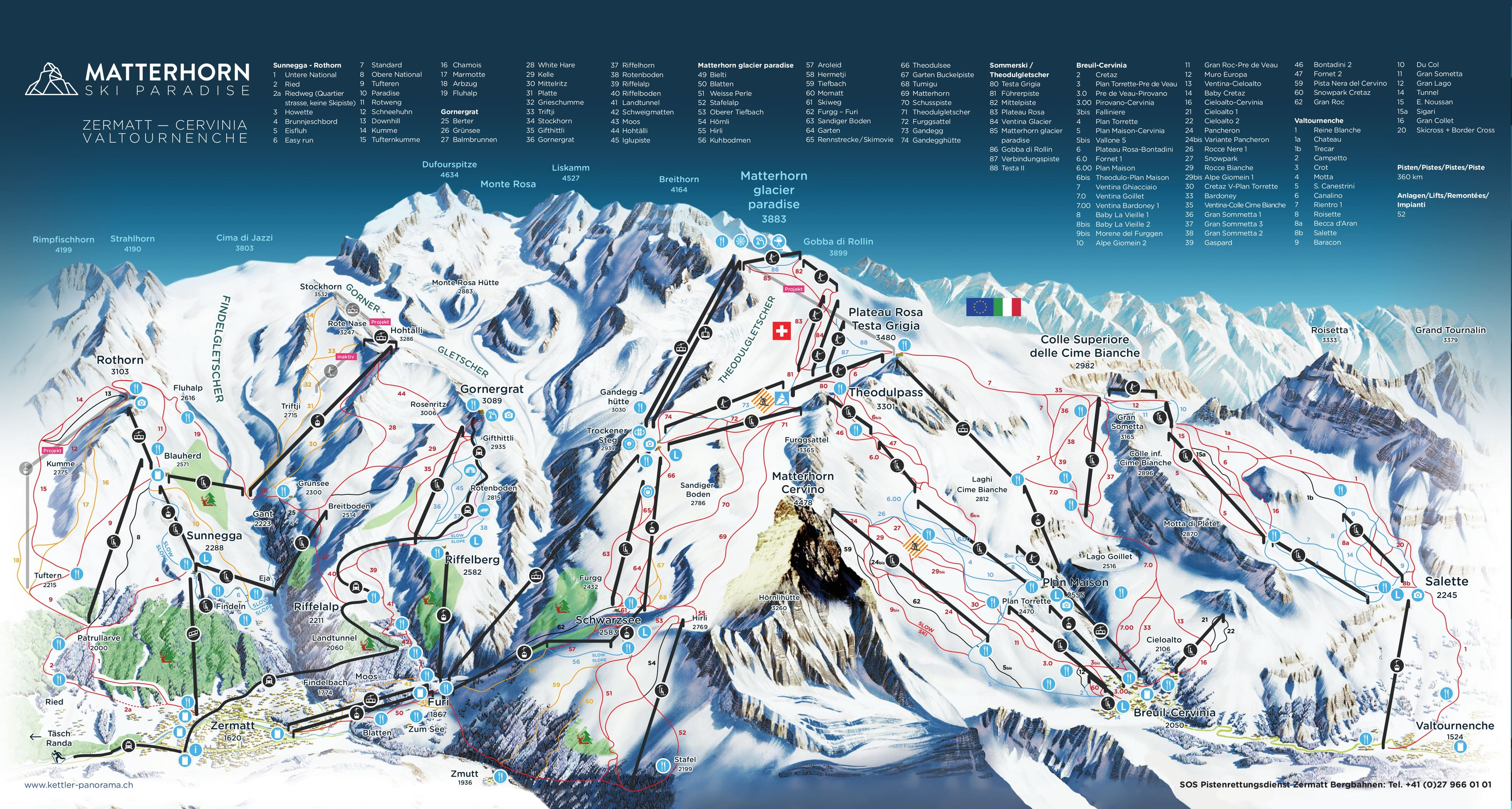 Zermatt Piste Map Trail Map
