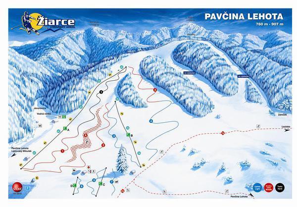 Žiarce - Pavčina Lehota Piste / Trail Map