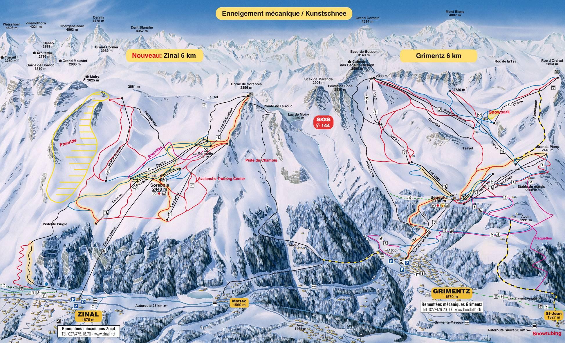Zinal Piste Map Trail Map