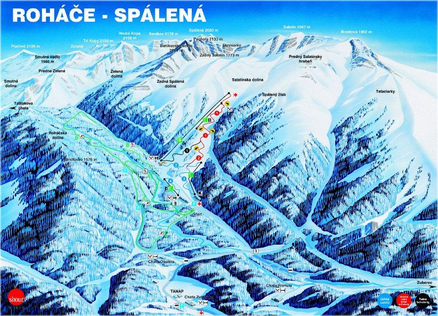 Roháče - Zverovka/Spálená dolina Piste / Trail Map