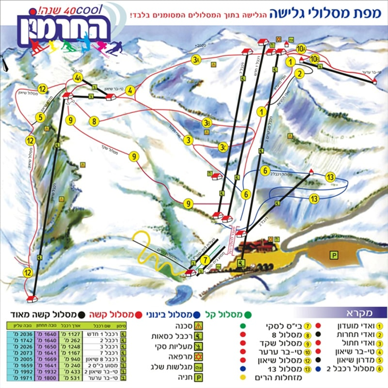 Mount Hermon Piste / Trail Map