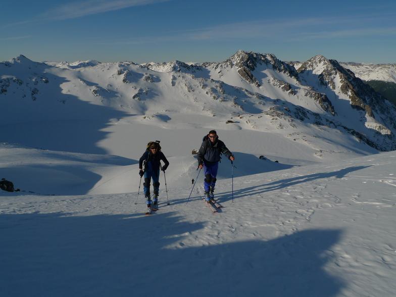 Ski touring above Lake Angelus, Rainbow