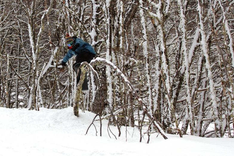 """Grind sobre álbol enterrado. Snowpark natural sendero """"Zanahoria"""", Cerro Mirador"""