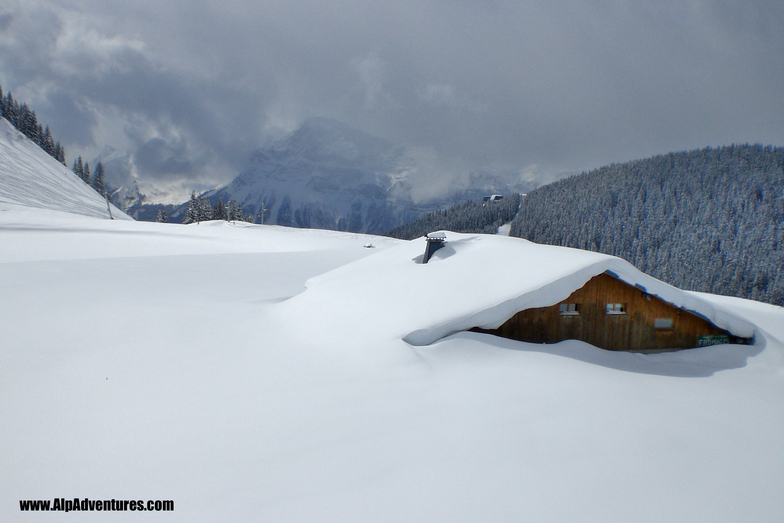 l'Airon in the snow, Les Carroz