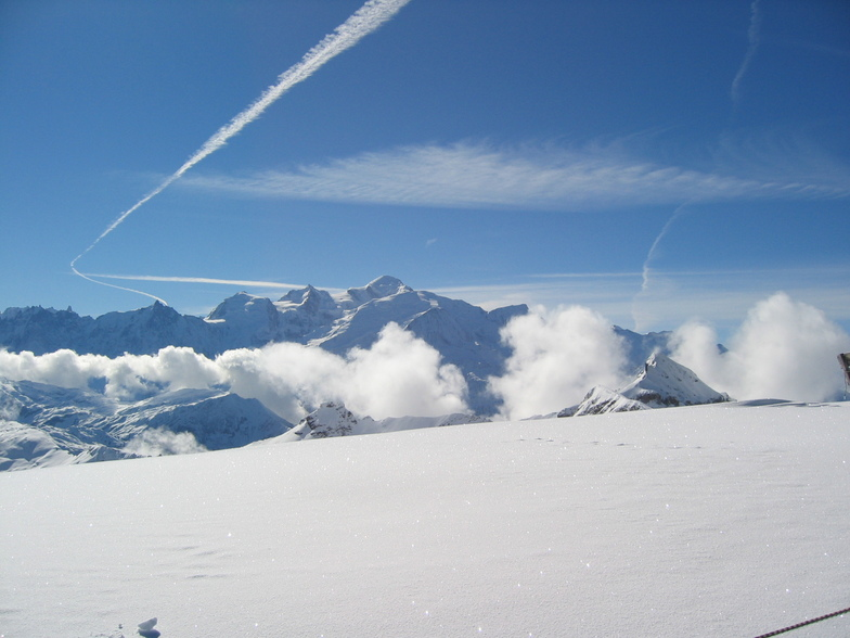 the Mont Blanc in the background, Flaine