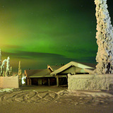 Northern Lights, Skiing, Finalnd, Finland