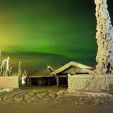 Northern Lights, Skiing, Finalnd, Finland