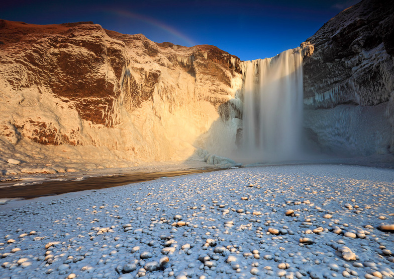Frozen Skógarfoss - Eyjafjöll, Iceland, Bláfjöll