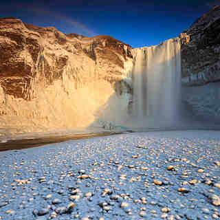 Frozen Skógarfoss - Eyjafjöll, Iceland, Bláfjöll