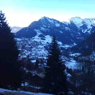 Looking up the valley from Les trios canards chalet, chatel