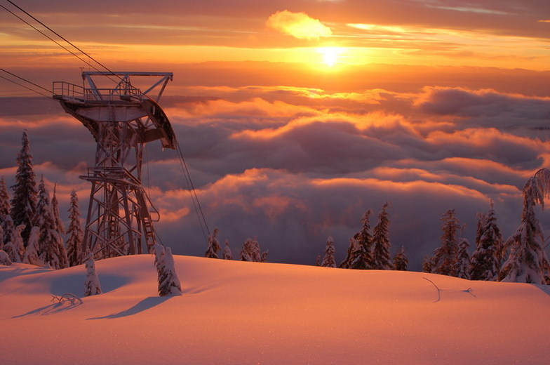 Sunset from The Peak of Vancouver, Grouse Mountain
