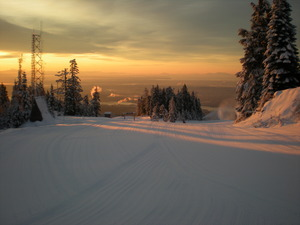 Sunrise snow making, Grouse Mountain photo