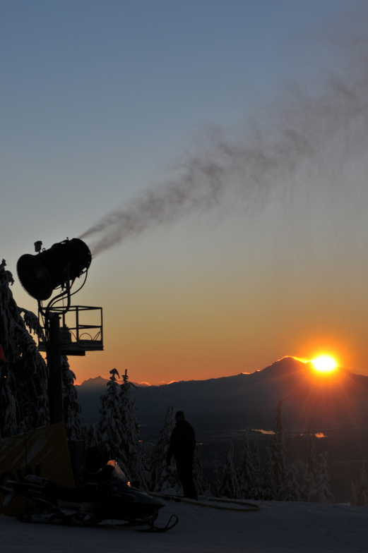 Snow Making at Dawn, Grouse Mountain