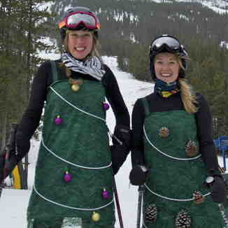 Castle Staff Embracing the Christmas Spirit, Castle Mountain Resort