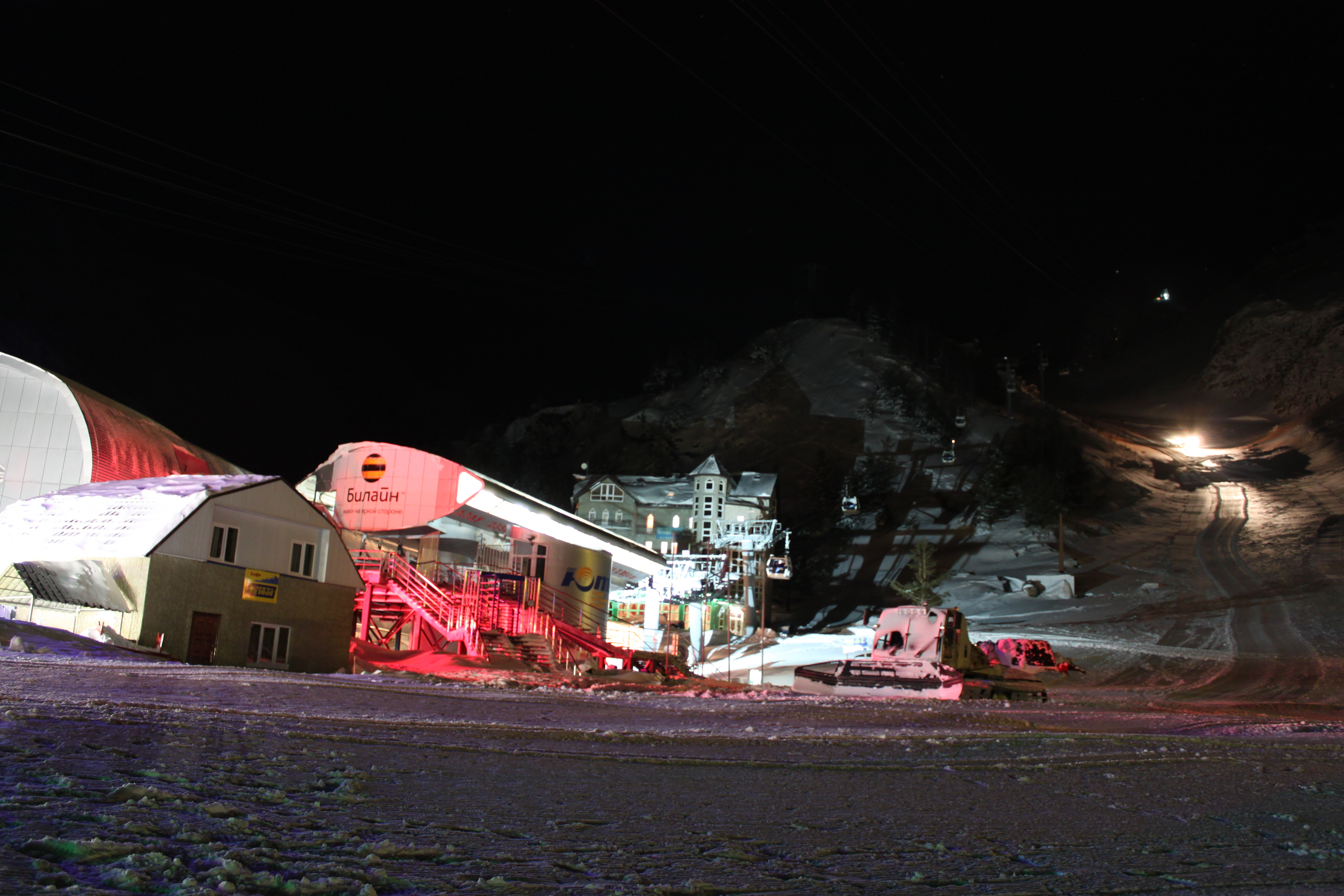 Azau in the night, Mt Elbrus