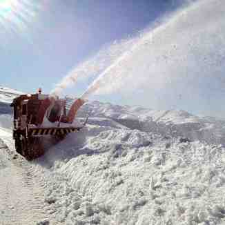 Snow-Blowing action on the road to Kozuf Ski Centre
