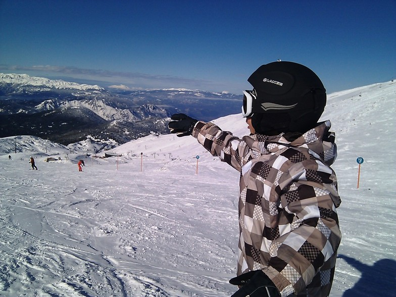 Snowstel with my son Xmas 2011, Mt Parnassos-Kelaria