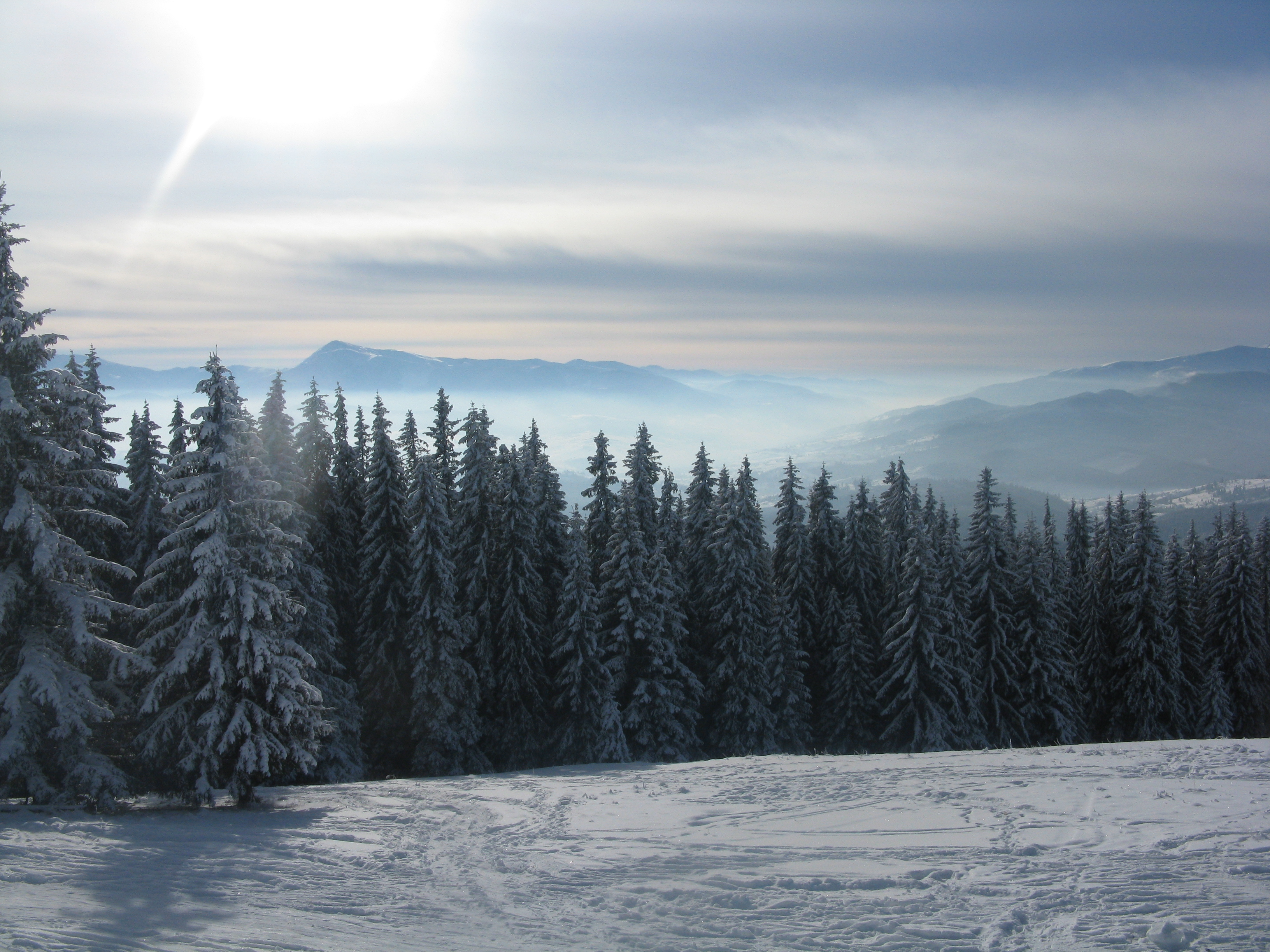 Frosty morning on the eve of St. Nicholas, Bukovel