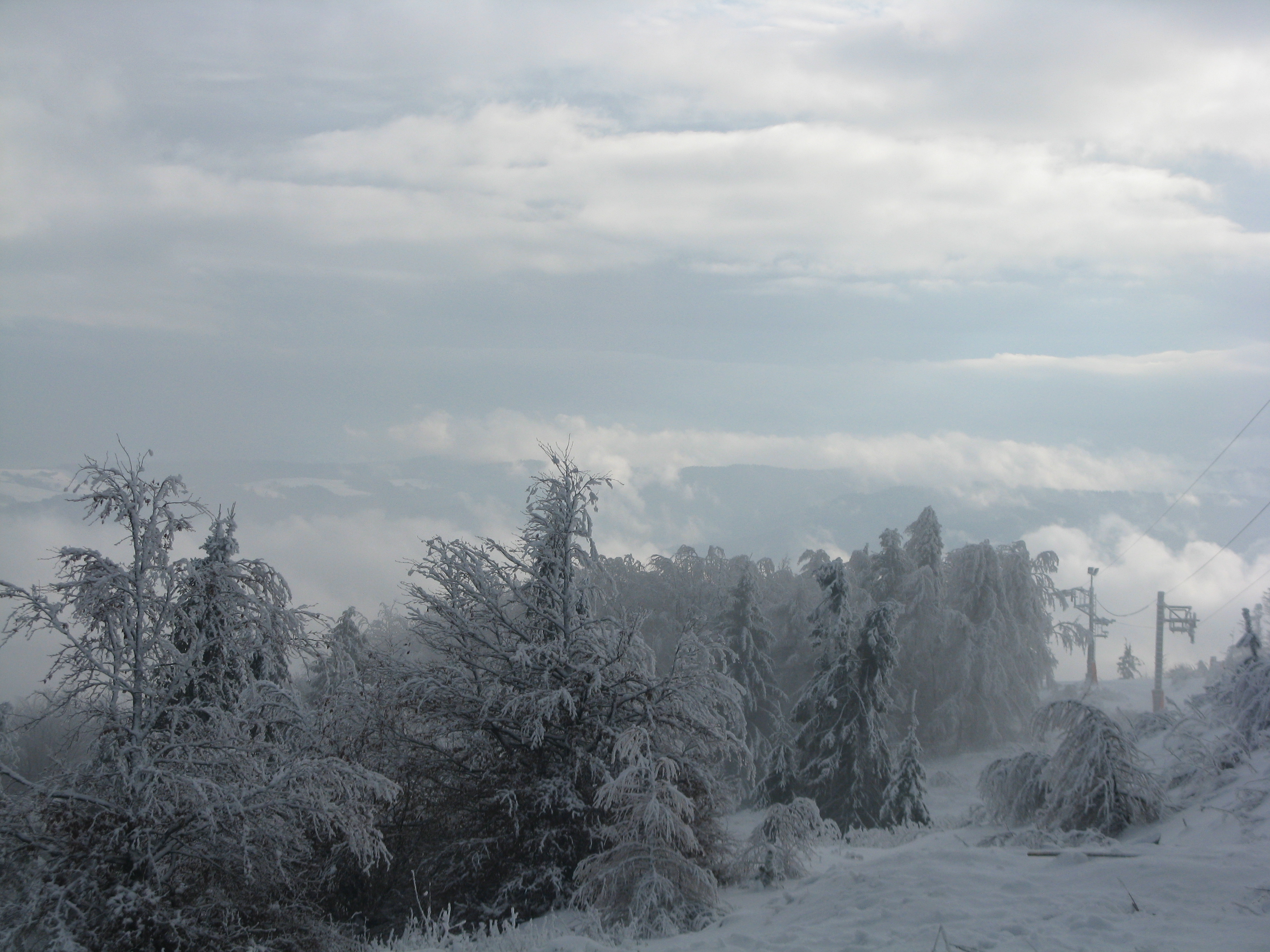 Fog, clouds and sun, Jaworzyna Krynicka