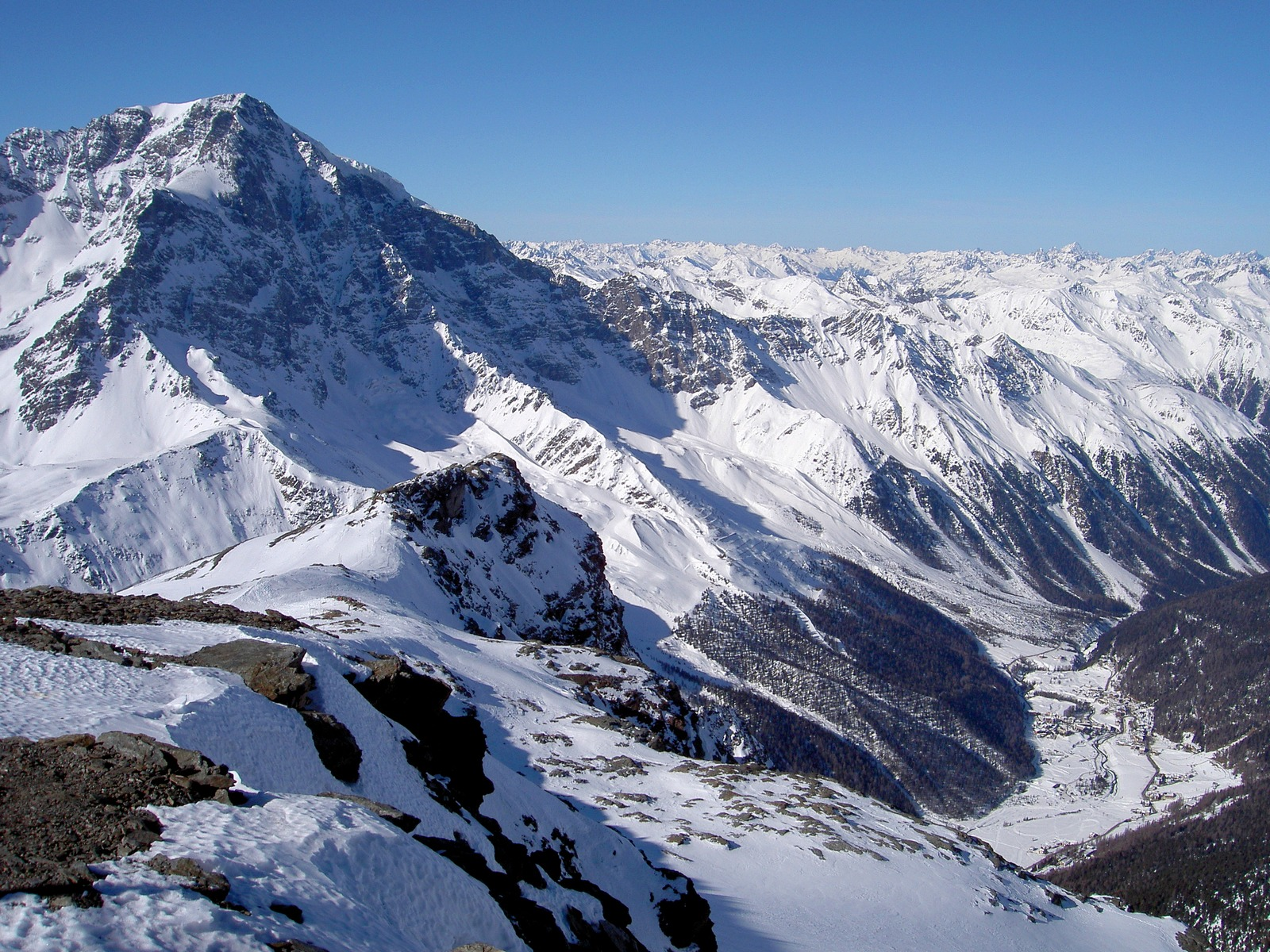 Ortler and Sulden valley, view from Schontaufspitze 3320m