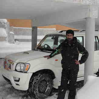 4x4 in snowy car shelter, Gulmarg