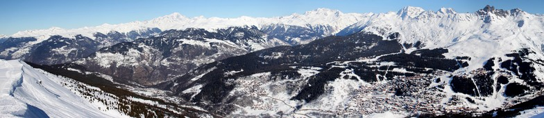 The view into the Méribel Valley from the top of Roc De Fer