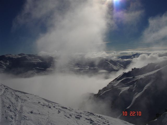 Under the clouds, Coronet Peak