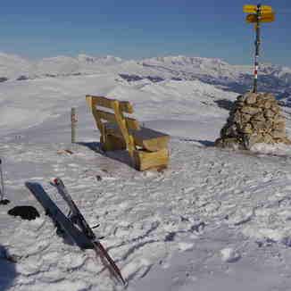 Blick auf P.Sezner Stein Hitzeggen und P.Mundaun, Obersaxen - Mundaun - Val Lumnezia