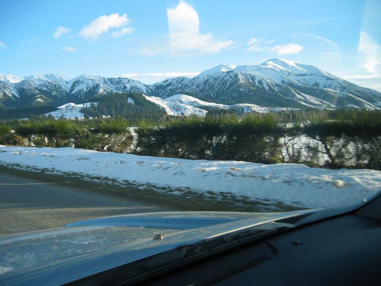 View from the car as we approach Mount Hutt, Mt Hutt