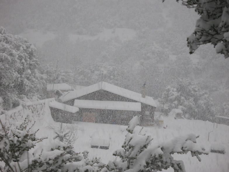 house in snow, Kalavryta Ski Resort