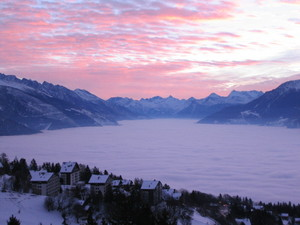 View of the Rhone Valley from Crans Montana photo