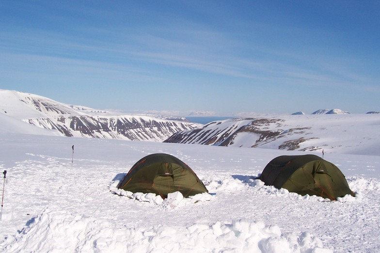 camping on a glacier, spitsbergen 80 degrees north
