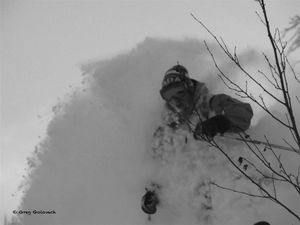 It's DRIER UP HERE! Mike Parr by Greg Golovach, Great Canadian Heli-Skiing photo