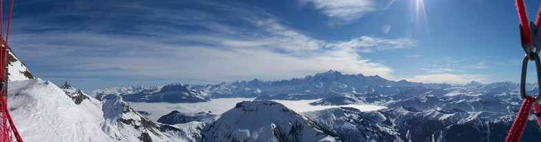 Extreme panorama on Mont Blanc at the top of La Blame area, La Clusaz
