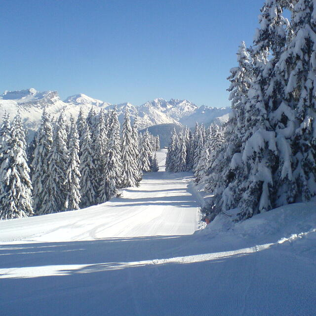 Megeve, France - early morning, empty piste!