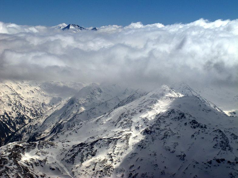 Flying over Alps in Austria, Hintertux