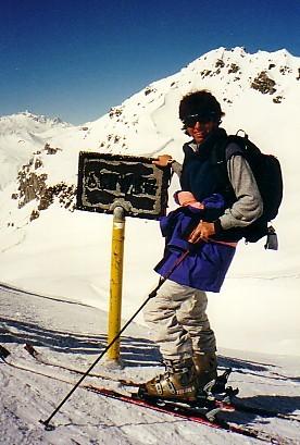 Caroline onthe Shlappinpass , the Swiss Austrian border, Davos