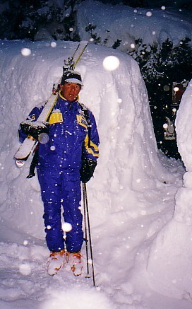 Tony walking home in Davos after a snowstorm