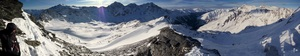 Panorama view from road to Schontaufspitze 3320m, to the Cevedale, Ortler Group and Sulden valley photo