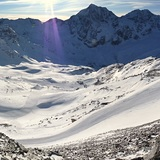 Panorama view from road to Schontaufspitze 3320m, to the Cevedale, Ortler Group and Sulden valley