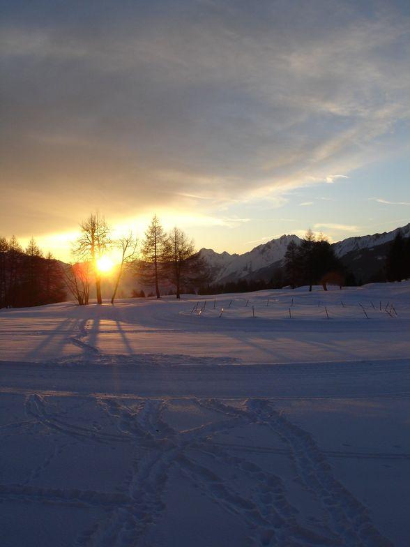 Setting Sun over Golf Course, Crans Montana
