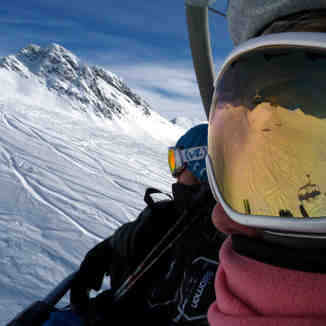 Goggle View of Les Arcs chair lift