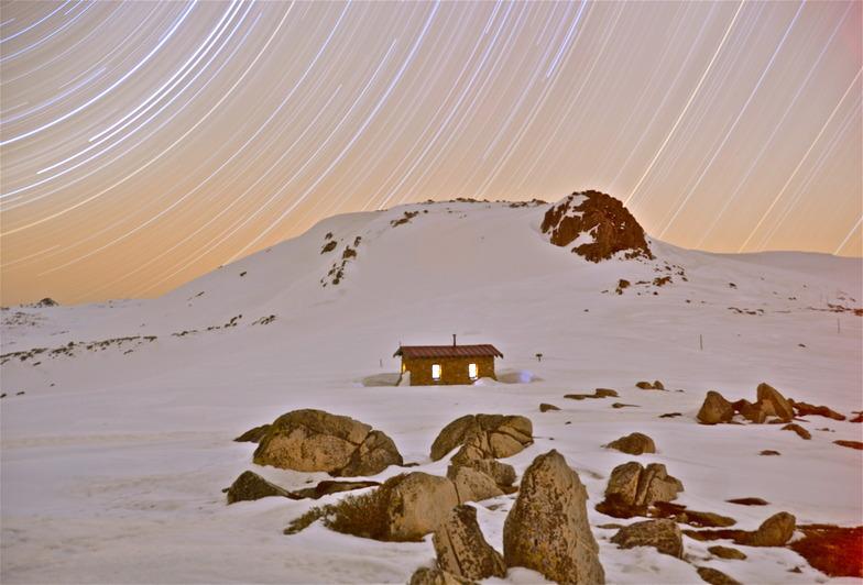 Star trails over Seaman's Hut, Kosciuszko National Park, Australia, Thredbo